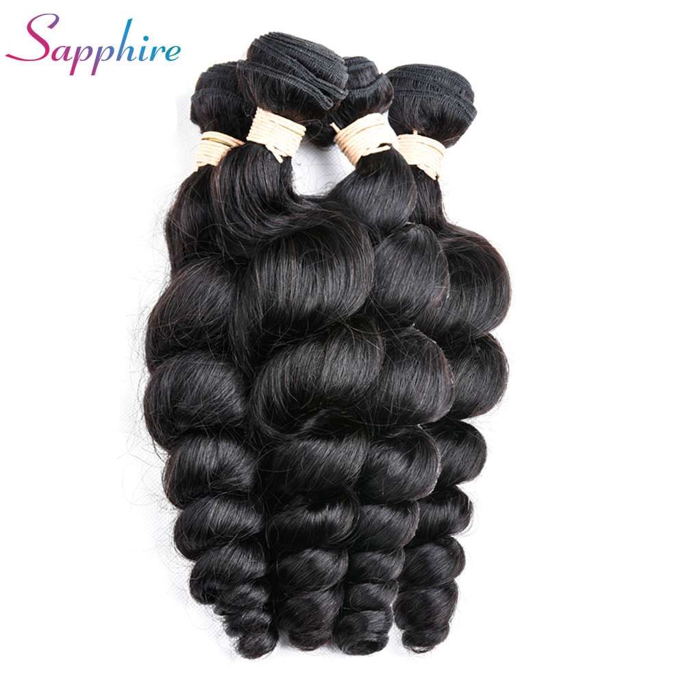 Sapphire Peruvian Loose Wave non remy Human Hair Extension 4 pc 100% Hair Weave Bundles 100g Hair Weft Hair Free Shipping