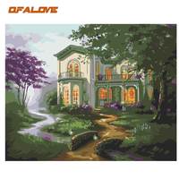 QFALOVE Abstract Green Villa DIY Painting By Numbers Famous Landscape Hand Painted Oil Painting On Canvas