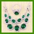Color plata Oval Pendientes Largos Blanco simulado Topacio Verde Esmeralda creado Sistemas de La Joyería Para Las Mujeres Pendientes/Anillo/Collar