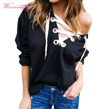 Casual Hip Hop Style Hooded Women Sweatshirt V-Neck Long Sleeve Loose Hoodies Lace Up Solid Sexy Pullover Girl Tops