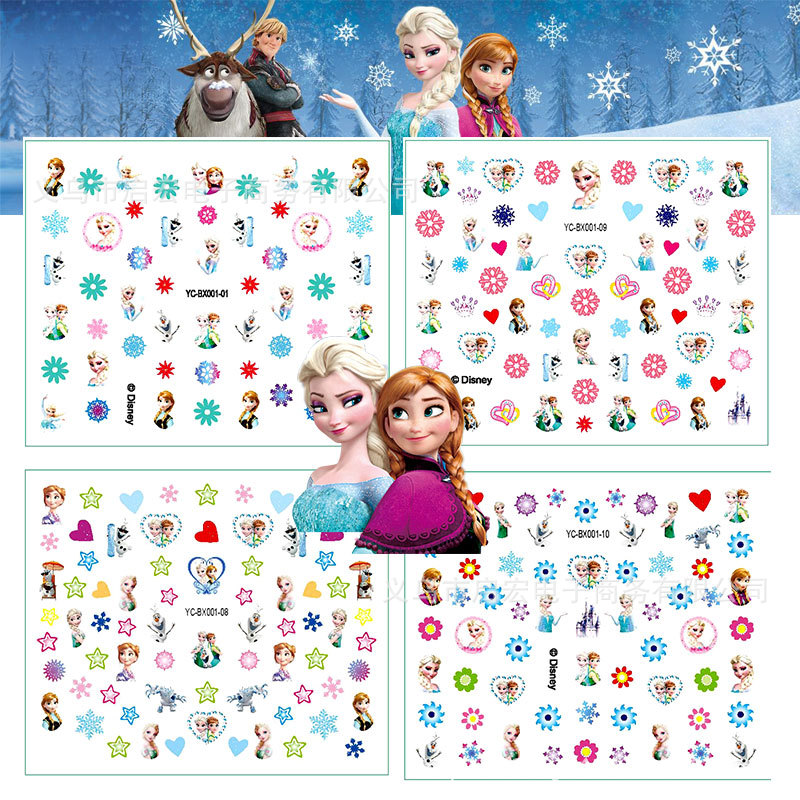Disney Children's Stickers Cartoon Nail Sticker Waterproof Princess Frozen Cartoon Environmental Baby Reward Sticker