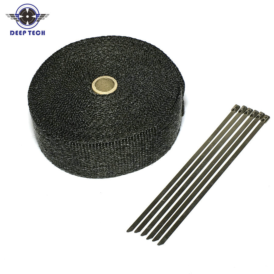 2 x50 Black Colour Exhaust Wrap Exhaust Muffler Pipe Header Heat Resistant Free Shipping 6 Cable Ties