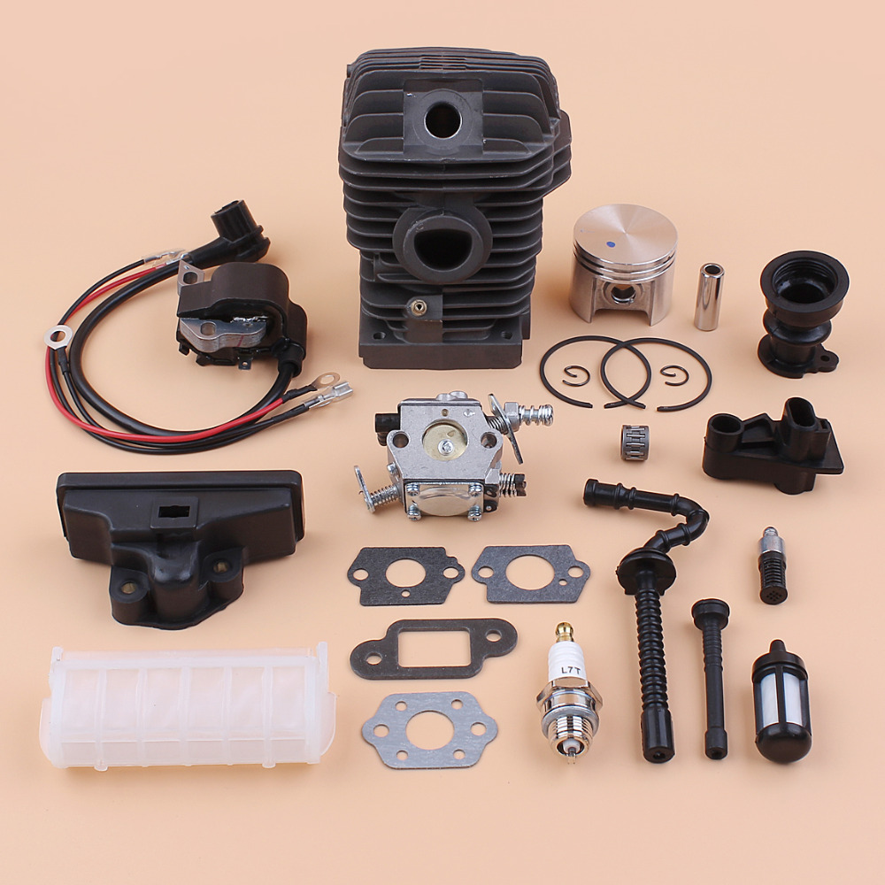 42.5mm Cylinder Piston Carburetor Ignition Coil Air Fuel Filter Kit For STIHL 023 025 MS230 MS250 Chainsaw Engine Rebuild Parts цена