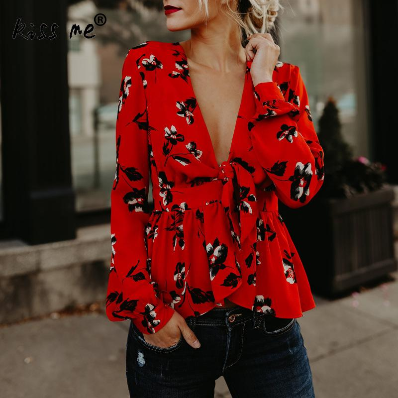 2018 Fashion Office Ladies Floral   Blouse     Shirt   Women Sexy Deep V Neck Wrap Tops Red Long Sleeve Party Tunique Chemisier Femme