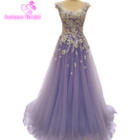 Real Image In Stock Purple A Line Appliques Beaded Evening Dresses Floor Length Cap Sleeveless Prom