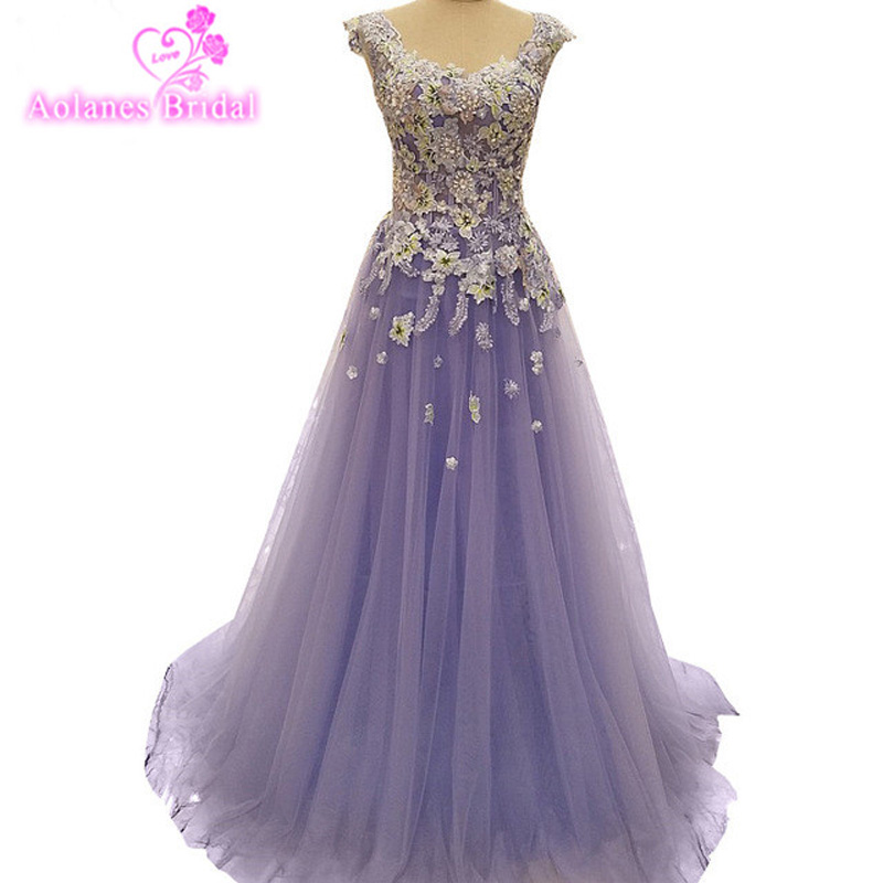 AOLANES Real Image In Stock Purple  A Line Applique Beaded Evening Dresses Floor Length Sleeveless Prom Dresses 2017 Party Gowns