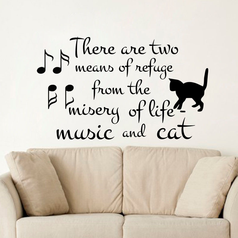 There Are Two Means Of Refuge Sayings Wall Sticker Music And Cat Wall Decals  Music Notes Art Words Home Decor Vinyl Removable In Wall Stickers From Home  ...