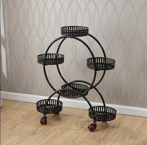 European style pulley iron flower rack multi layer assembly corner living room simple pastoral bonsai rack movable shelf in Storage Holders Racks from Home Garden