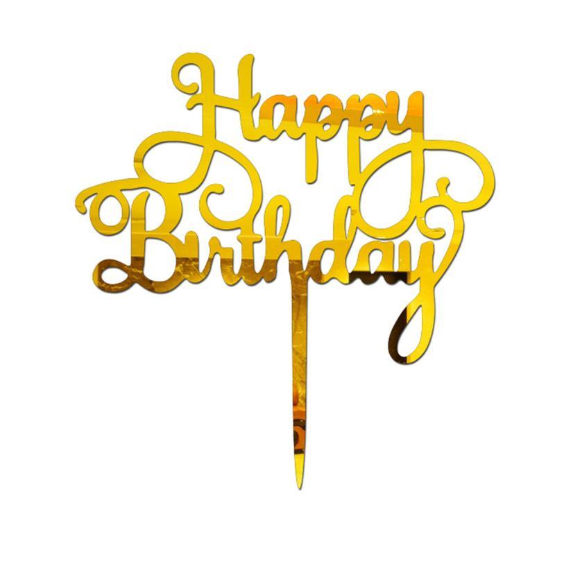 Mirror Silver Happy Birthday Wall Art Sticker