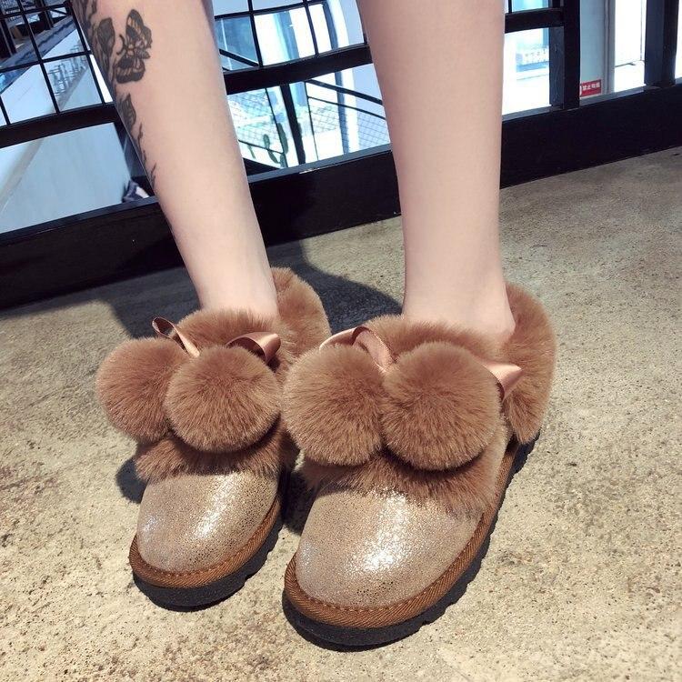 Lujo Casual Nieve De 1 Marca 2018 Moda Botte La Dama Para Mujeres Botas Zapatos Peludos 2 Plana Otoño Mujer qTP6T1