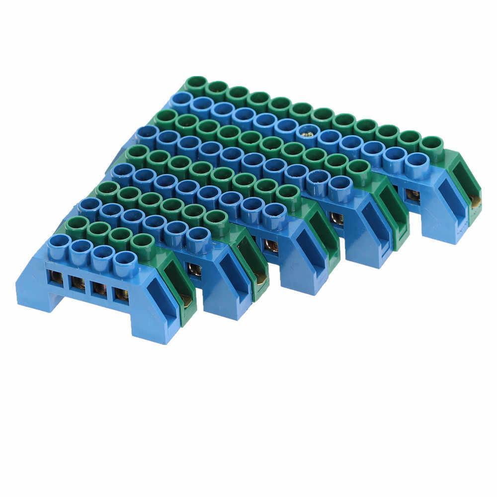 1Pcs Verde Blu Vite In Ottone Su Guida Din Morsettiera Terra e Neutro Blocchi di 4/6/8/ 10/12Way scatola di Distribuzione morsettiera