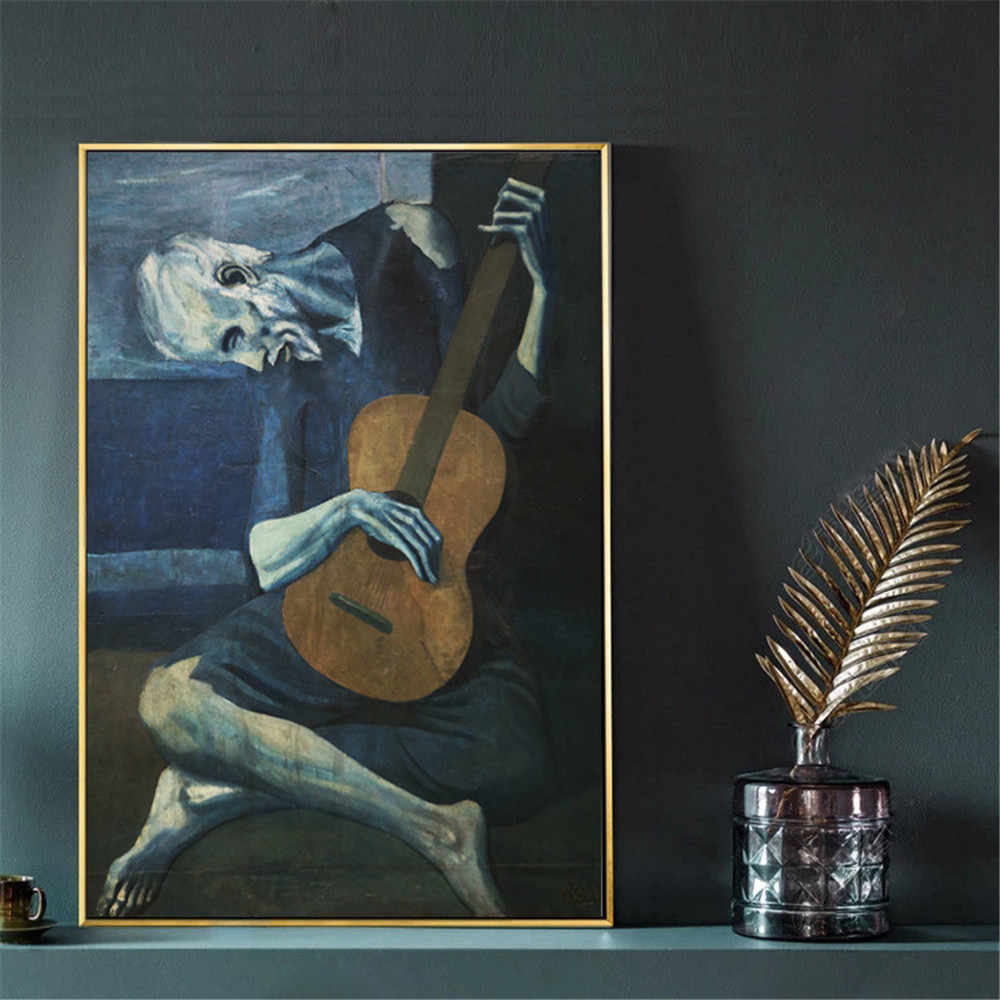 The Old Guitarist by Pablo Picasso Wall Art Canvas Painting Poster For Home Decor Posters And Prints Decorative Pictures