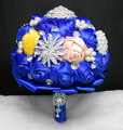Western style 2016 Royal Blue Wedding Bridal Holding Flower With Crystals Beaded Accessory Foto bride bouquet Wedding Bouquet