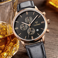 Cadisen 2016 Clock Mens Watches Top Brand Luxury Auto Date Diamond Water Resistant Leather Band Quartz