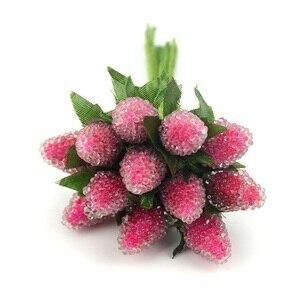 Image 5 - Искусственные стеклянные ягоды, фрукты, красная вишня, пластиковые фрукты для дома, свадебное украшение, искусственная клубника, цветок тутового шелкопряда, 12 шт.