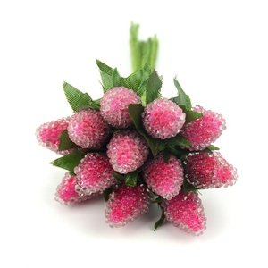Image 5 - 12pcs Artificial Glass Berries Fruit Red Cherry Plastic Fruits For Home Wedding Decoration Fake Strawberry Mulberry Flower
