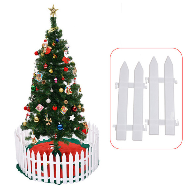 5pcs 12x295cm plastic christmas tree fence layout decorations mini fence christmas decorations for home - Christmas Fence Decorations
