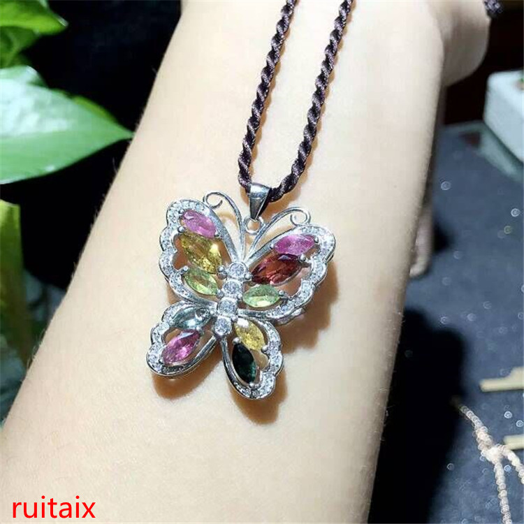 KJJEAXCMY boutique jewels S925 silver natural tourmaline butterfly pendant jewelry wholesale gift box necklace.