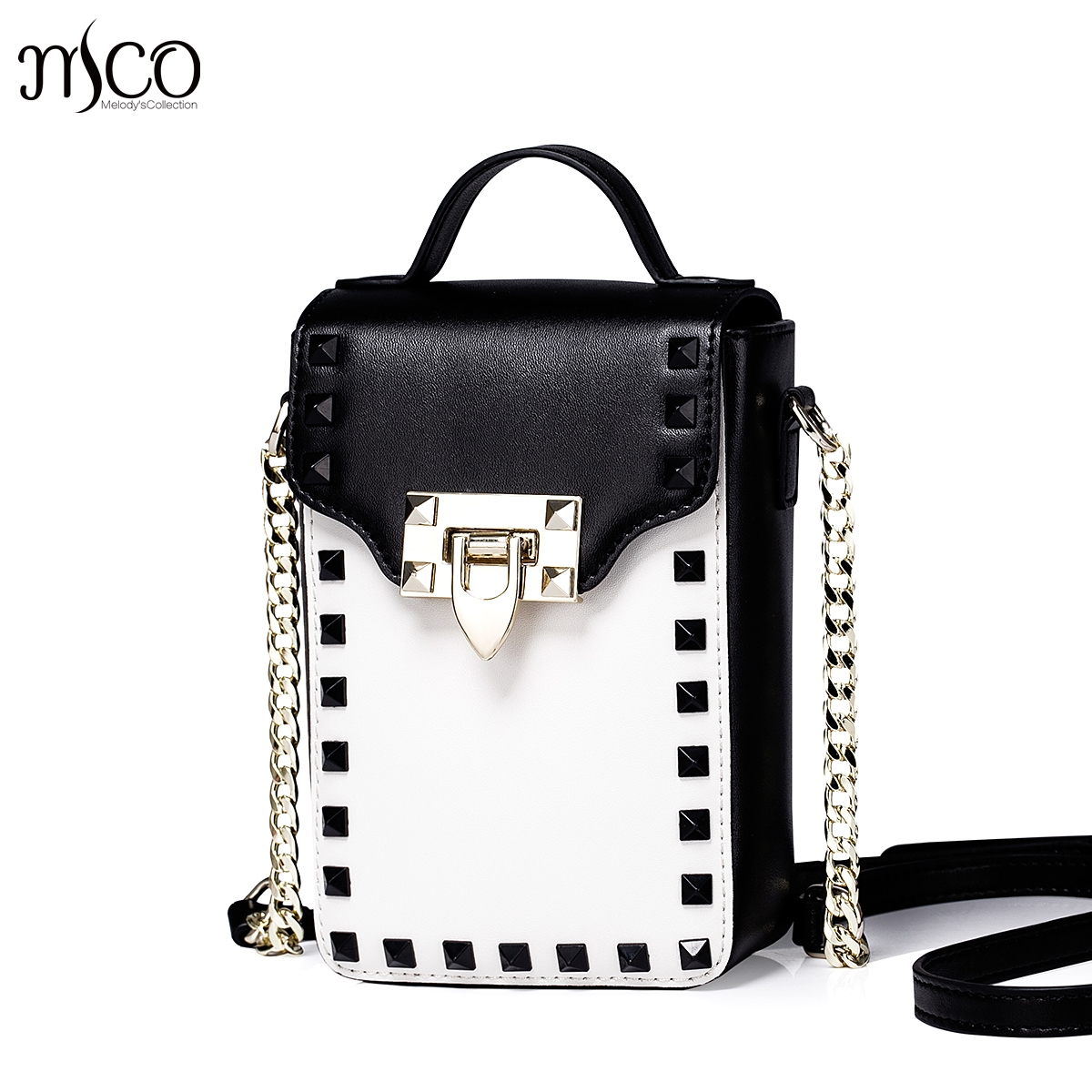 New 2016 Women's Studded Cowhide Leather Chain Vertical Small Shoulder Bag Cross Body Phone Purse Mini Crossbody Messenger Bag wenger mini vertical boarding bag 1826 66