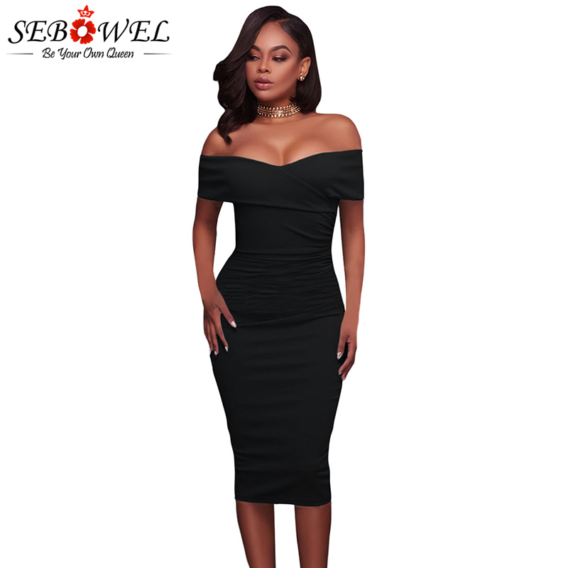 SEBOWEL Sexy Red Off Shoulder Bodycon Party Dress Women Elegant - Women's Clothing - Photo 2