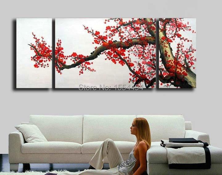 Ciruela flor de Cerezo Japonés moderno pintado a mano enmarcado ...