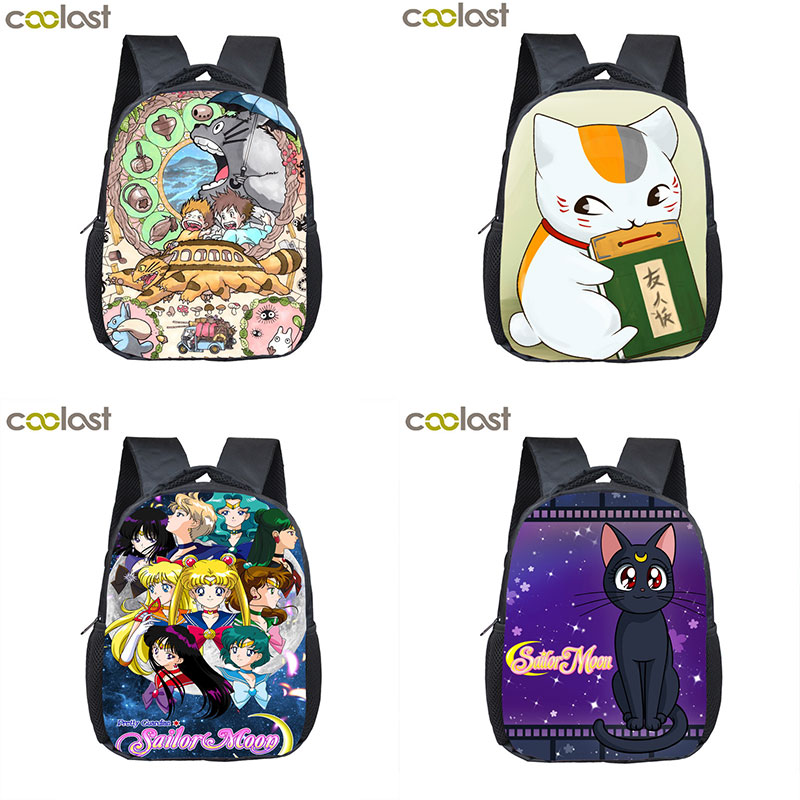 Anime Totoro / Natsume Yuujinchou / Sailor Moon Crossbody Bags For Women Gitls Boys Luna / Nyanko Sensei Toddler School Backpack