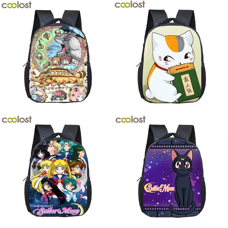 Sailor Moon Crossbody Bags For Women Gitls Boys Luna Nyanko Sensei Toddler School Backpack Natsume Yuujinchou Anime Totoro