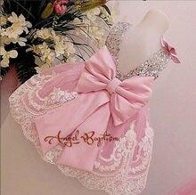 25e6118c73 Różowy backless sukienka dla niemowląt srebrny olśniewająca koronki tulle  toddler korowód Wielkanoc junior matka i córka