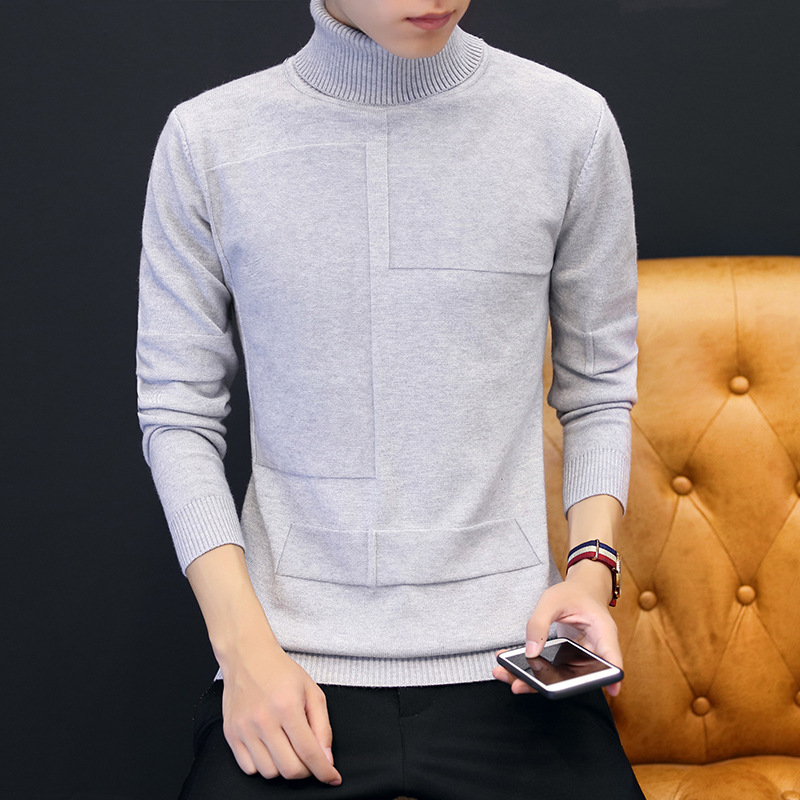 Turtleneck Clothes 2019 Classic Simplicity Pullover Sweater Men Solid Long Sleeves Grey Black Mens Sweaters Free Ship