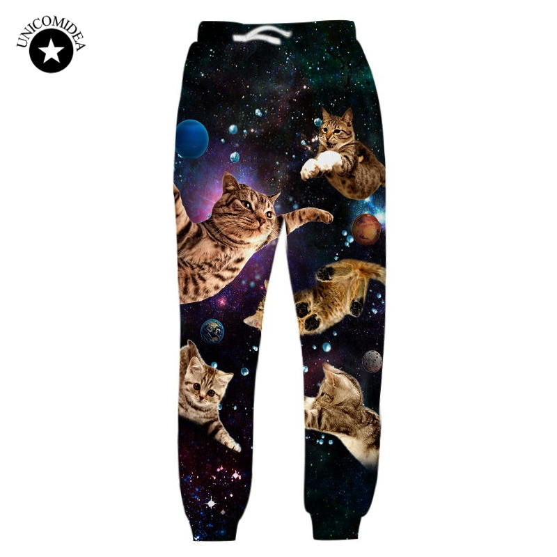 Autumn Joggers Mens Black Pants Brand 3D Trousers Galaxy Cat Kitten Printed Track Pants Casual Active Sweatpants Trousers