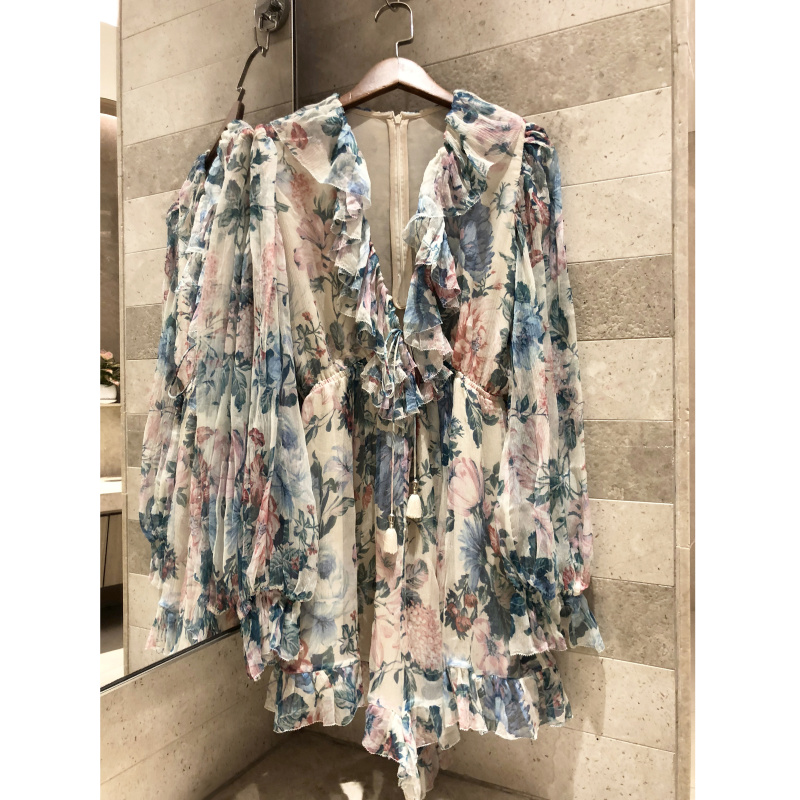 2019 summer women s casual long sleeved V neck Floral print Rompers fashion bohemian silk flower