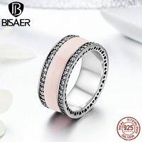 100% 925 Sterling Silver Ring Trái Tim Của BISAER, mềm mại Màu Hồng Men & Clear CZ Nhẫn đối với Phụ Nữ Engagement Jewelry WEU7624