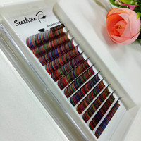 Nieuwe collectie 12 Rijen Gemengde Regenboog Kleur Wimper Extension Hoge Kwaliteit 0.1mm Kleurrijke Individuele Wimpers Make Gereedschap