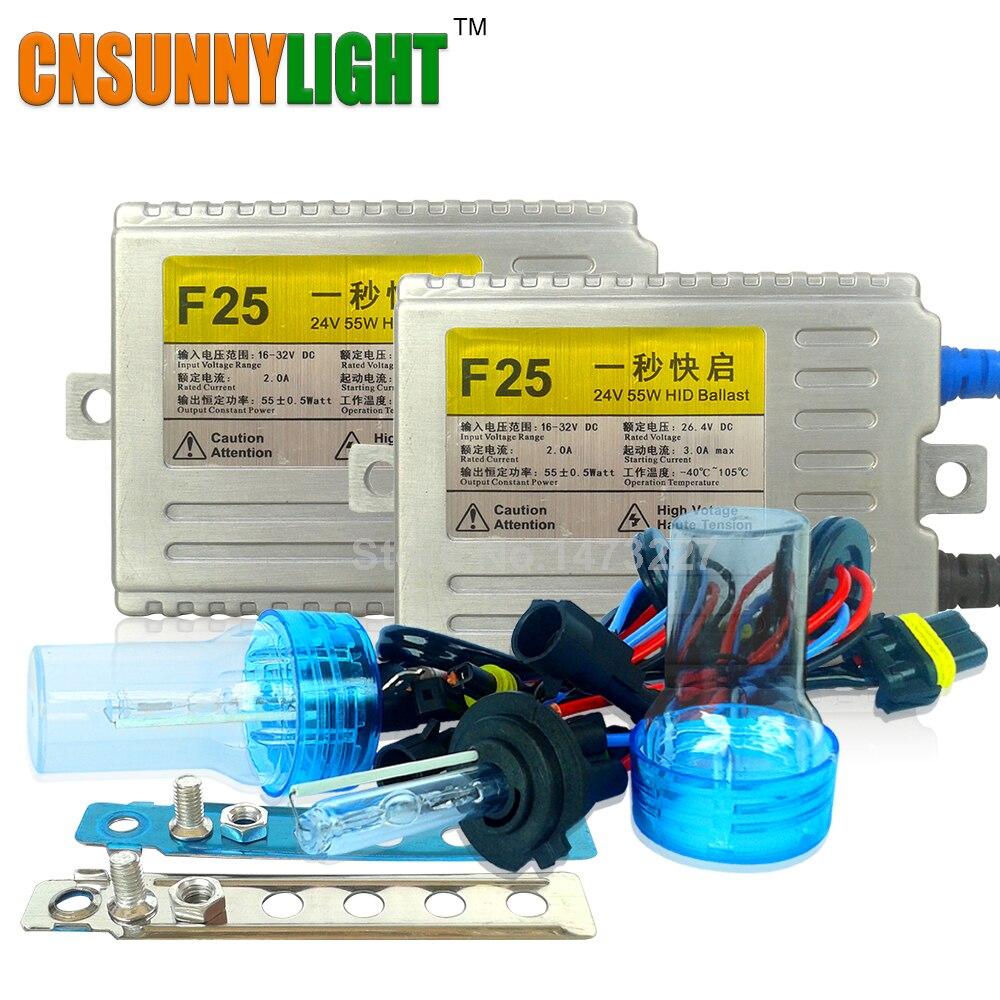 CNSUNNYLIGHT AC 55 Вт 24 В Ксеноновые комплект для грузовиков легкий прицеп H7 H11 H1 H3 H8 H9 H10 9005 9006 6000 К 8000 К Ксеноновые свет