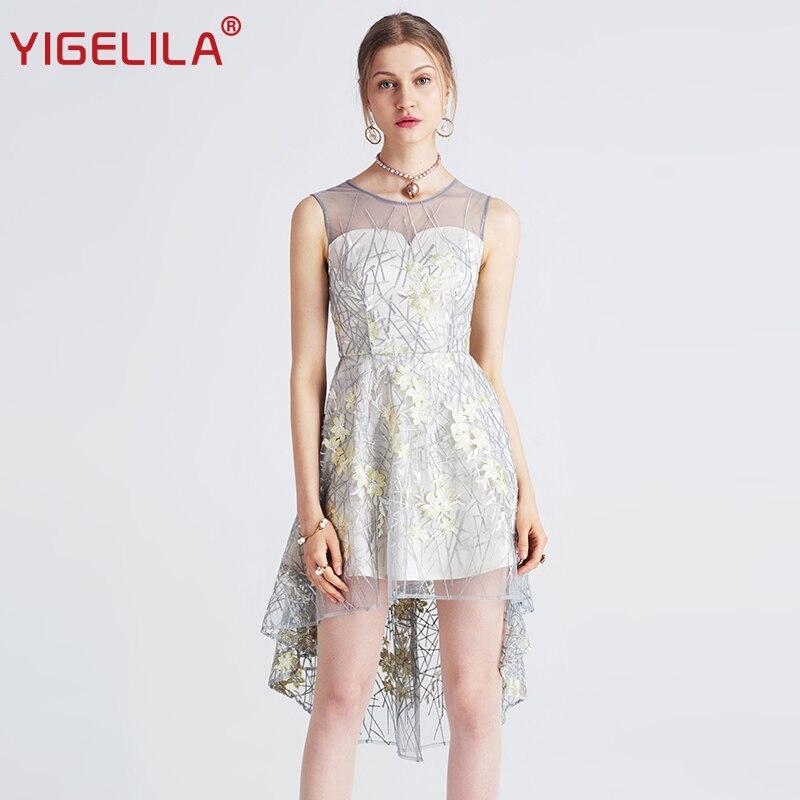 YIGELILA 2019 najnowsze Mesh haft sukienka moda kobiety lato O neck bez rękawów asymetryczna Hem imperium sukienka 62711 w Suknie od Odzież damska na  Grupa 1