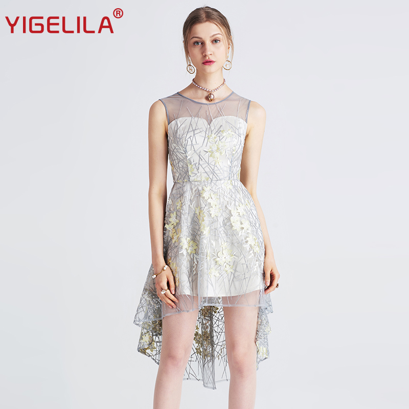 YIGELILA 2019 أحدث شبكة التطريز اللباس أزياء المرأة الصيف يا الرقبة أكمام غير المتكافئة تنحنح الإمبراطورية اللباس 62711-في فساتين من ملابس نسائية على  مجموعة 1