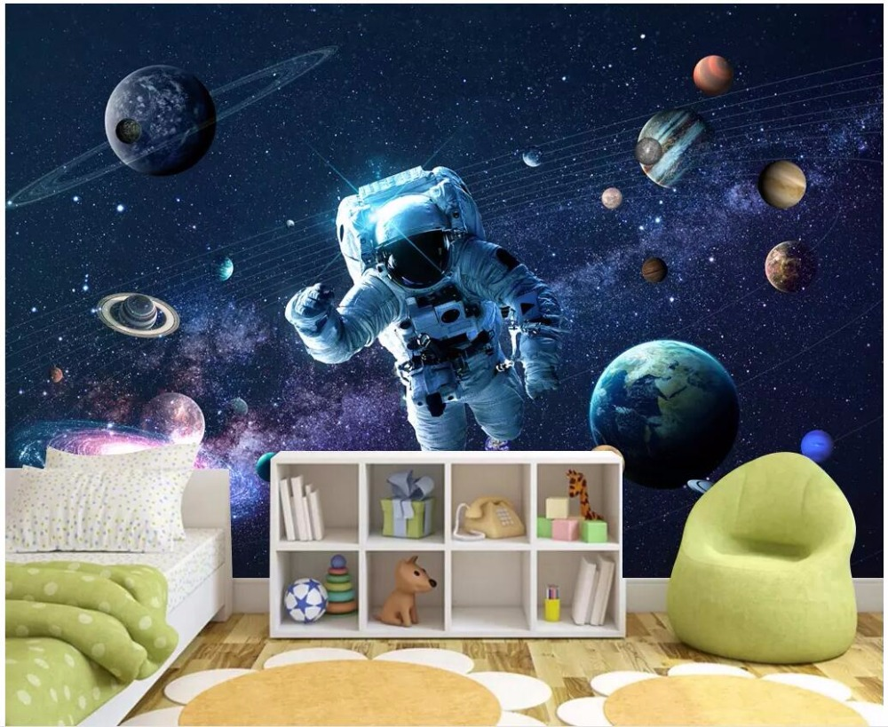 Home Improvement Astronauts In Space Wall Mural Planets Photo Wallpaper Kids Bedroom Home Decor Building Hardware