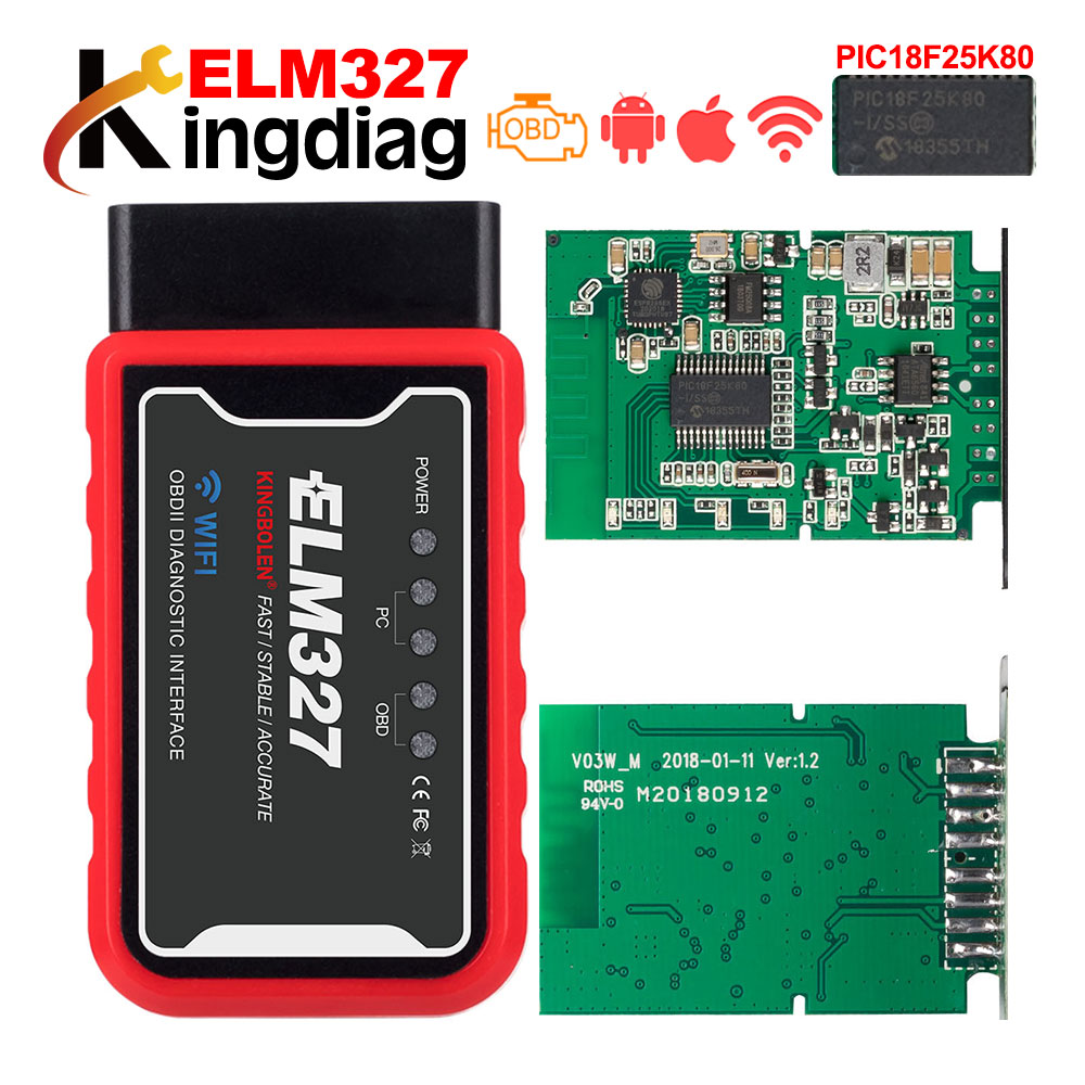 PIC18F25K80 chip ELM327 Bluetooth/WiFi OBDII v1.5 Diagnostic-Tool ELM 327 V1.5 OBD 2 Auto Scanner for Android/IOS/PC Torque(China)