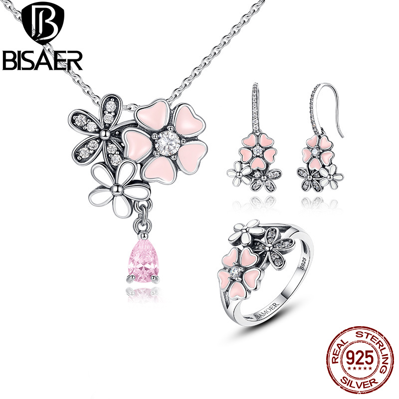 100% 925 Sterling Silver Jewelry Set Pink Flower Poetic Daisy Cherry Blossom Jewelry Sets Sterling Silver Jewelry Accessories natural dry flower nail decoration 60pcs mix 12 color daisy babysbreath plum blossom flower manicure accessories