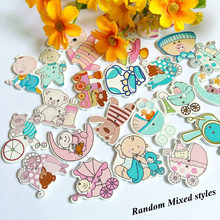 30pcs Random Mixed 2 Holes baby pattern cartoons Wooden Sewing Decorative  Buttons Scrapbooking Decoration