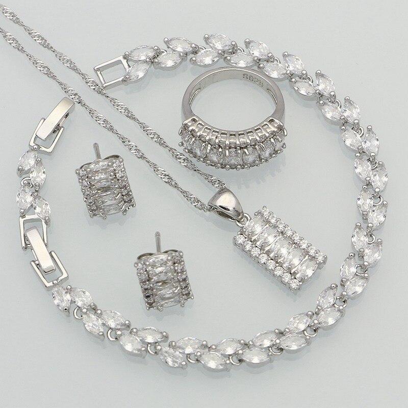 925-Sterling-Silver Jewelry Crystal Earrings/ring Australian Women White