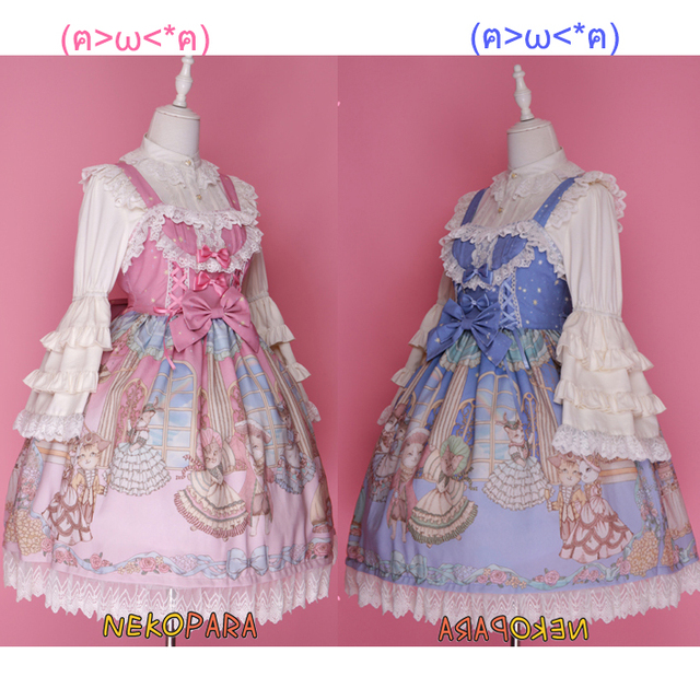 Palace Cat Party Rococo Style Women s Gorgerous JSK Lolita Dress Lace Trim Bows  Sleeveless Cute One Piece Pink   Blue 78cc47c36158