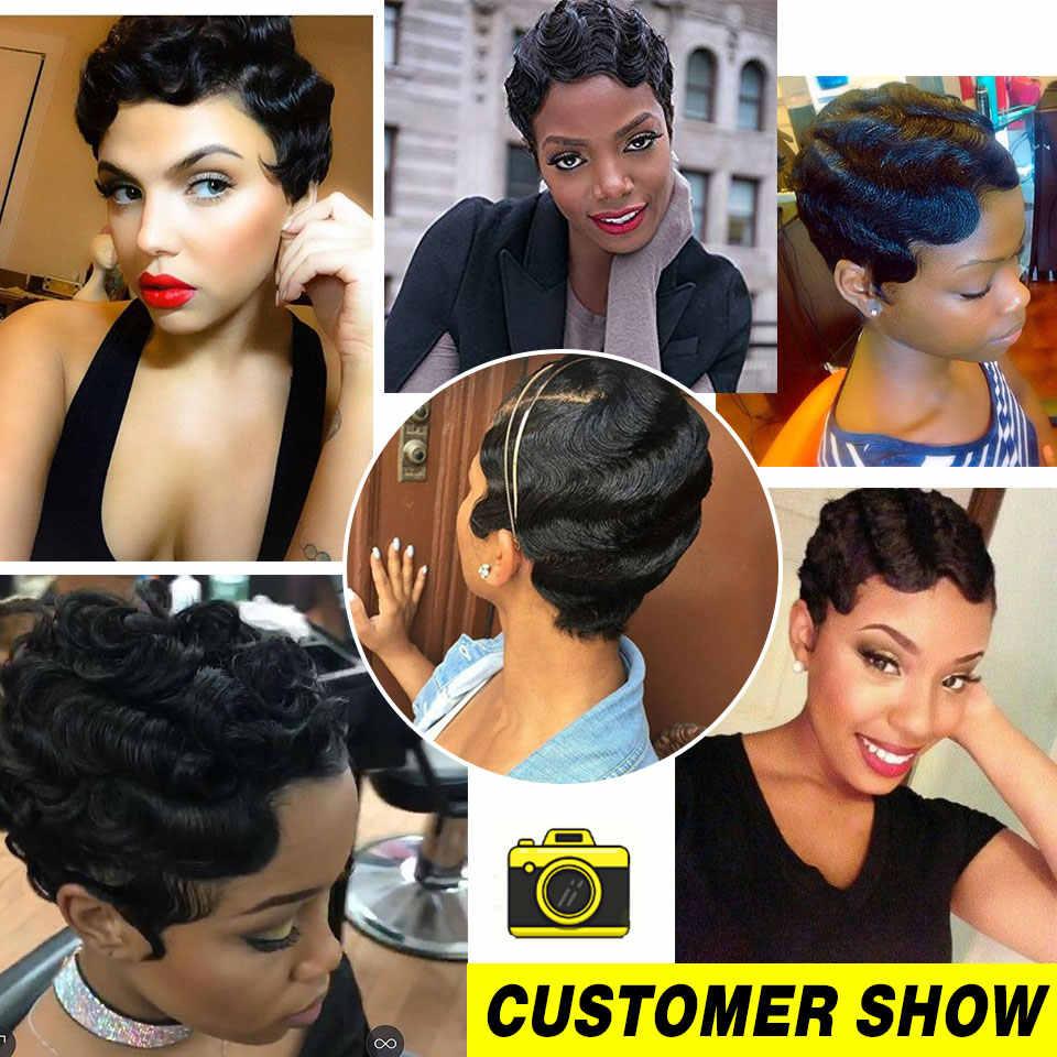 Pelucas de Bob cortas de Sophie para mujeres negras No Remy Peluca de pelo humano recto 4 pulgadas 100% máquina de cabello humano sin olor pelucas H. NINA