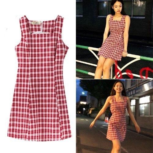 d96d5c6871aab Kpop BLACKPINK JENNIE streetwear moda vestido de verano a cuadros rojos  mujeres elegante coreano Mujer Vestidos sexy Harajuku ropa