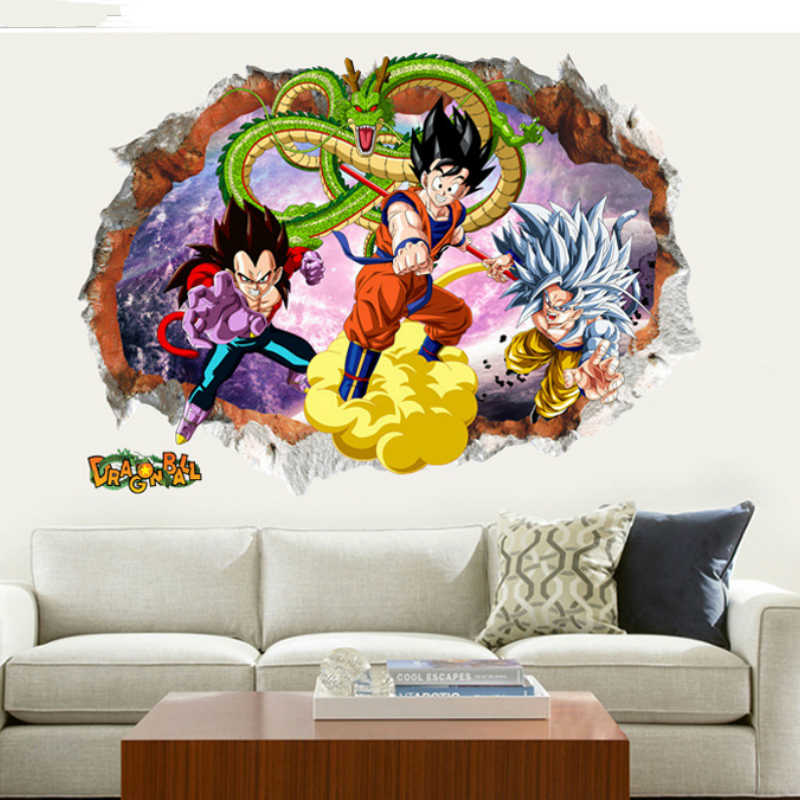 50*70 cm Dragon Ball Stripfiguren Sticker Big Size PVC Dragon Ball Z Goku Vegeta Behang Super Saiyan stickers ST01