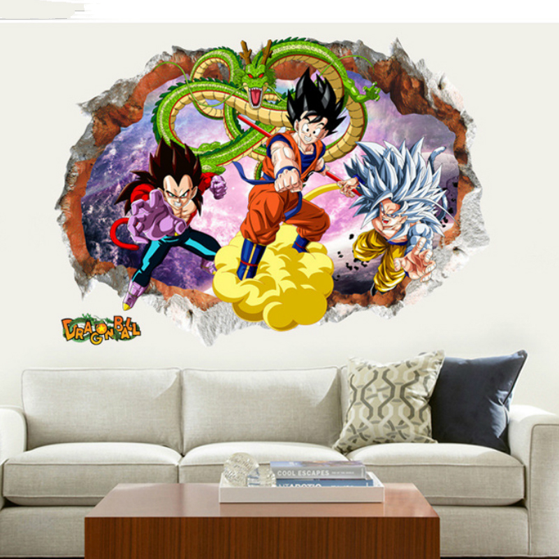 Us 611 25 Off5070cm Dragon Ball Cartoon Characters Sticker Big Size Pvc Dragon Ball Z Goku Vegeta Wallpaper Super Saiyan Stickers St01 In