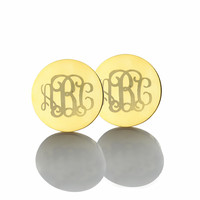 AILIN Freeshipping Personalized Monogram Earrings Gold Color over Silver Engraved Name Earrings Initials Earrings