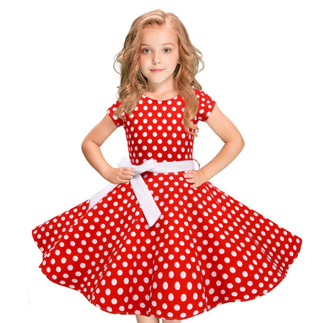 d86c6ad56284 2018 New Girl Short Sleeve Bow Princess Vintage Dress Kids Polka Dot ...