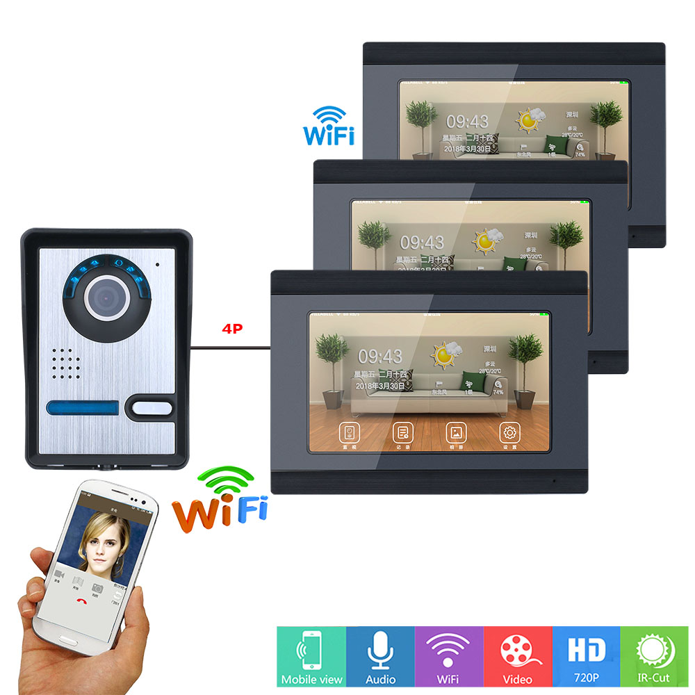 7 Inch 3 Monitors Wired /Wireless Wifi Video Door Phone Doorbell Intercom System With  IR-CUT HD 1000TVL Wired Camera