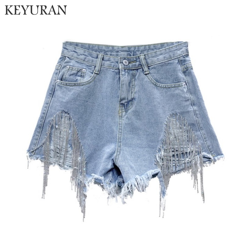 European Women Blue Denim Shorts Summer 2019 New Tassel Chain Rhinestone Skinny Hole Jean Shorts Short Mini Shorts Girls Lady